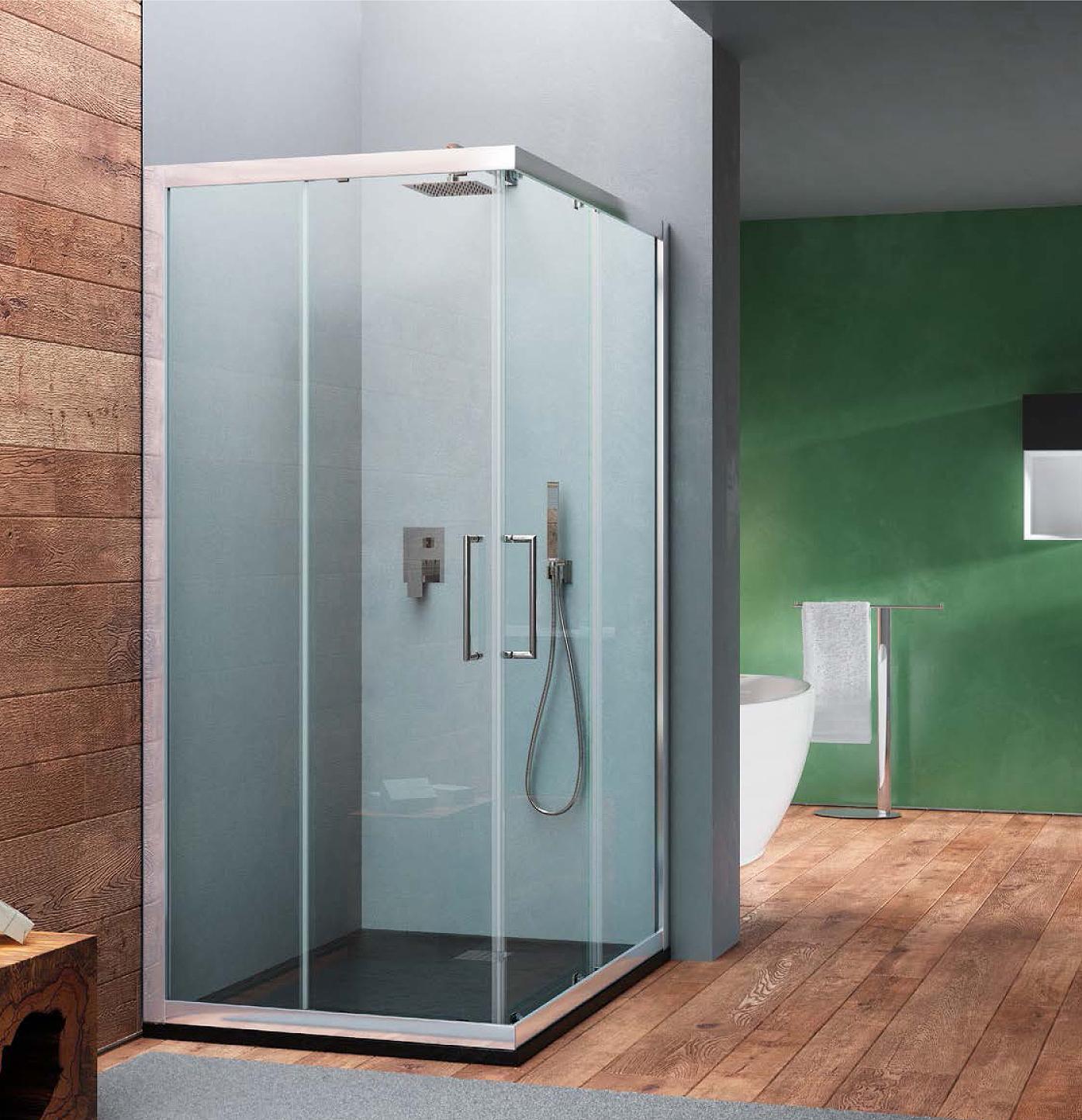 Box doccia angolare quadrato in cristallo temperato texture 6 mm HERA