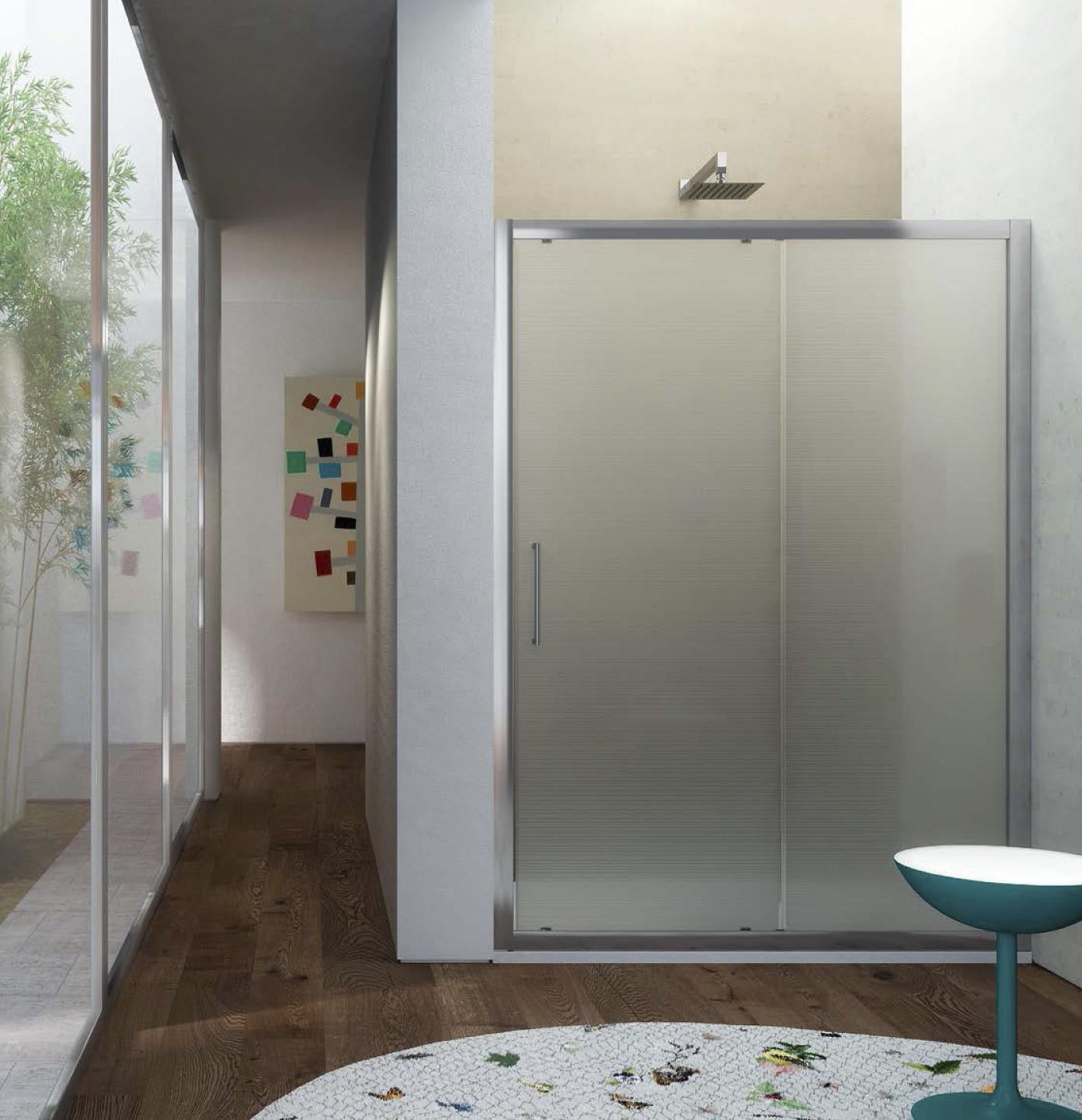 Porta doccia scorrevole in cristallo temperato texture 6 mm HERA